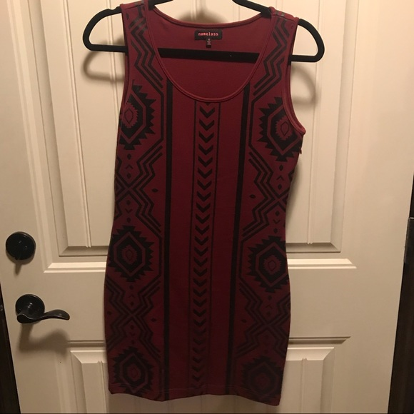 Nameless Dresses & Skirts - Maroon and black Aztec print dress